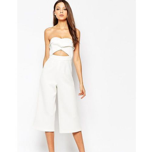Asos tall  premium occasion bandeau jumpsuit - white