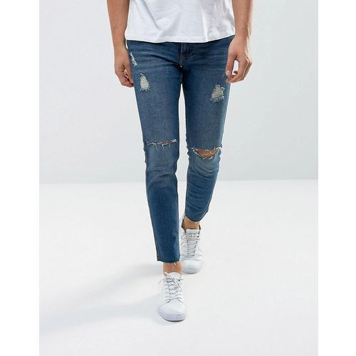 Mango man ripped skinny jeans with raw hem in mid wash - blue