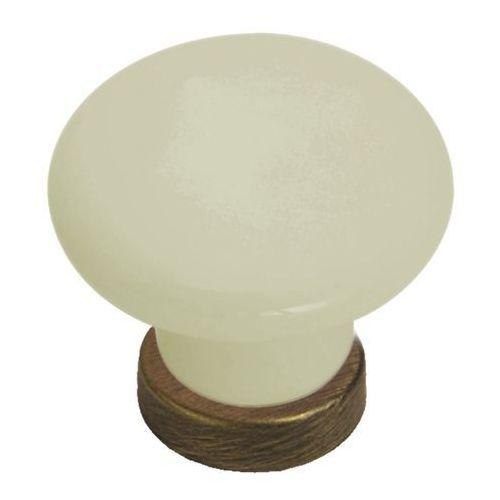 Uchwyt meblowy Gamet A porcelana mosiądz antyczny (5901304732510)