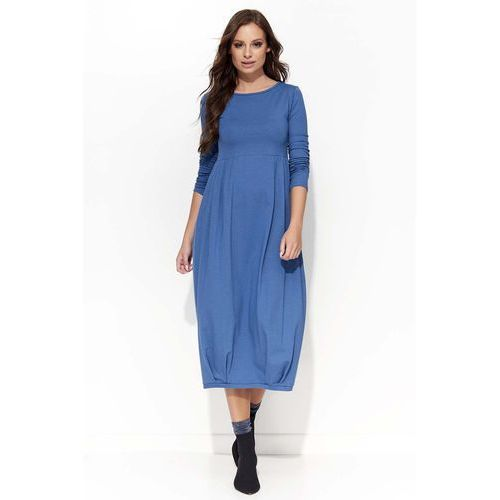 Makadamia Jeansowa sukienka midi bombka z długim rękawem