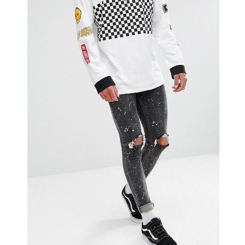 New Look Skinny Jeans With Rips And Paint Spray In Black Wash - Black, kolor czarny