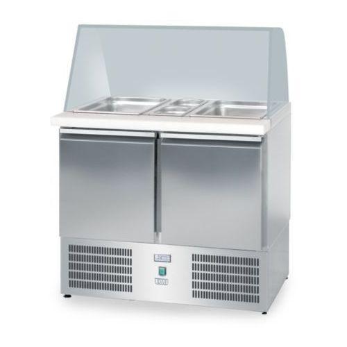 Lada sałatkowa chłodnicza, 2-drzwiowa, przeszklona, 950x700x850 mm | DORA METAL, DM-94047