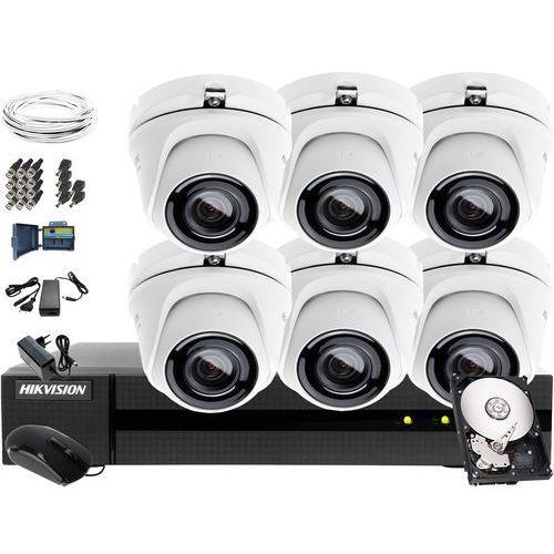 Zestaw do monitoringu hurtowni, magazynu, sklepu Hikvision Hiwatch Turbo HD, AHD, CVI HWD-6108MH-G2, 6 x HWT-T120-M, 1TB, Akcesoria