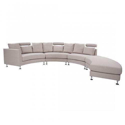 Blmeble Półokrągła sofa tapicerowana - kanapa beż - tkanina obiciowa - santis