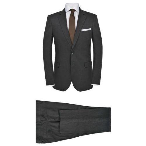 lniany garnitur męski, 2-częściowy, rozmiar 56, ciemnoszary marki Vidaxl