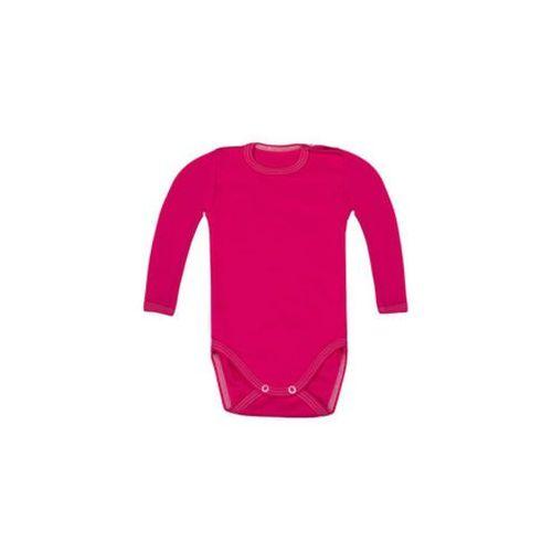 Body dziecięce z długim rękawem (bez nadruku, gładkie) - różowe, 10932