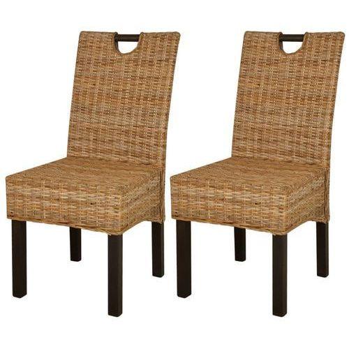 Krzesła do jadalni rattanowe, drewno mangowe, 2 sztuki