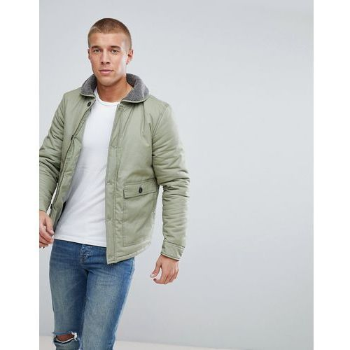 Another Influence Flight Jacket with Borg Collar - Green