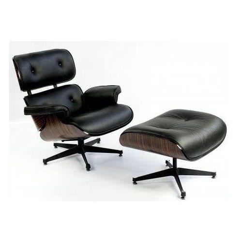 Fotel z Podnóżkiem Kopenhaga czarna skóra/ebony