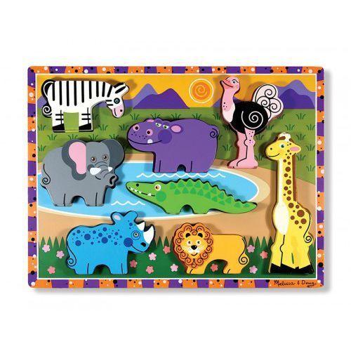 Extra gruba układanka z figurkami safari - drewno marki Melissa & doug