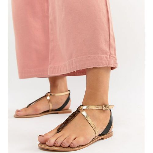 design forbes leather wide fit flat sandals - multi, Asos