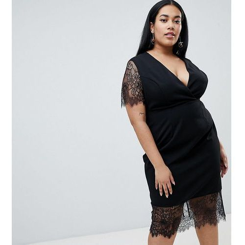 ASOS DESIGN Curve Pencil Dress With V Neck And Lace Sleeves And Hem - Black, kolor czarny