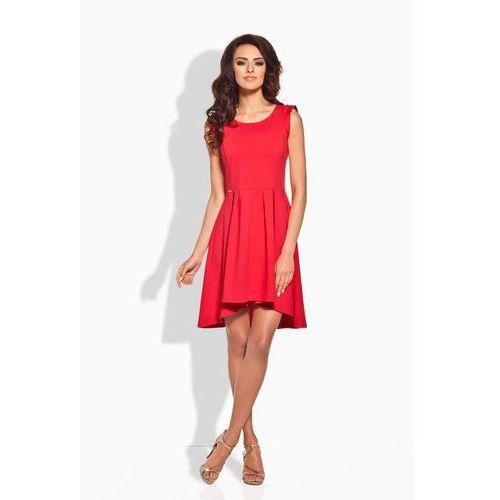 Rozkloszowana asymetryczna czerwona sukienka, Lemoniade, 36-40