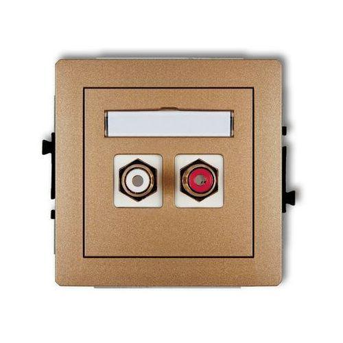 Karlik Gniazdo podwójne rca (cinch - biały i czerwony, pozłacany) 8dgrca-2, złoto deco (5903418063788)