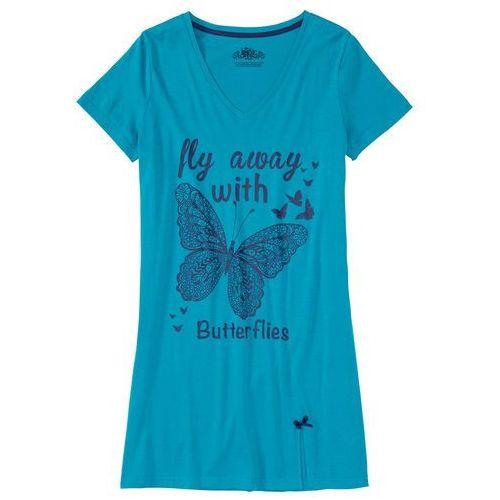 Koszula nocna bonprix ciemnoturkusowy z nadrukiem, w 9 rozmiarach