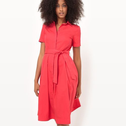 Rozszerzana sukienka koszulowa z paskiem, La redoute collections