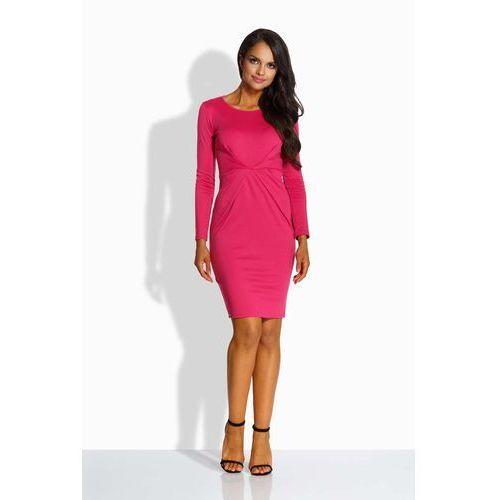 Fuksja Sukienka Ołówkowa z Dekoracyjnym Drapowaniem, kolor różowy