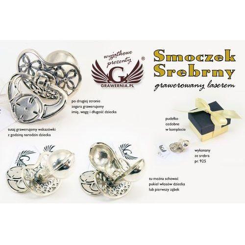 Smoczek srebrny ze schowkiem na ząbek mleczny - wzór SRB010 - Pamiątka Chrztu Świętego