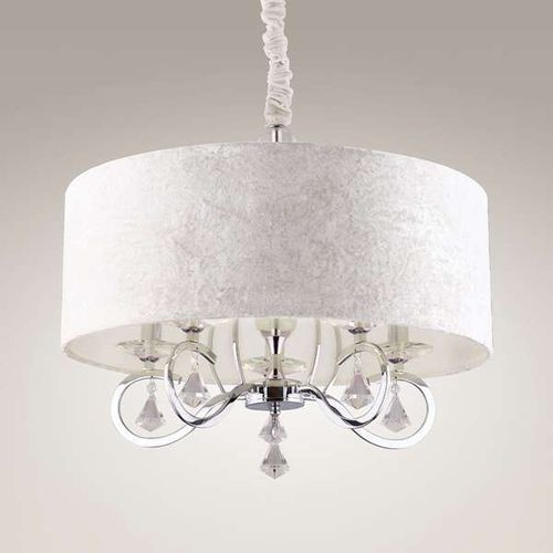 Wisząca lampa glamour amsterdam p p0103 abażurowa oprawa zwis z kryształkami crystal chrom biały marki Maxlight