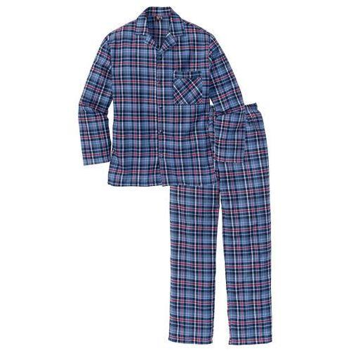 Bonprix Piżama flanelowa  niebieski w kratę