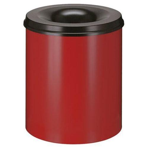 Bezpieczny kosz na papier, poj. 80 l, wys. 550 mm, czerwony. Korpus z blachy sta