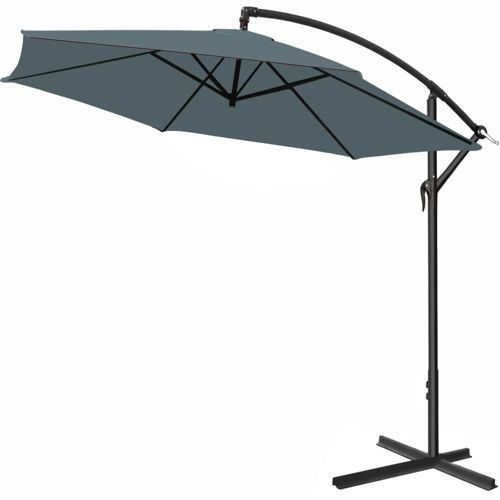 Wideshop Duży parasol ogrodowy 300 wysięgnik boczny szary - antracyt