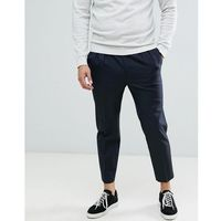 ASOS DESIGN tapered crop smart trousers in 100% wool with double pleat - Navy