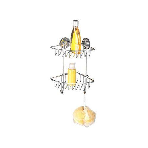 Narożna półka łazienkowa BARI, Vacuum-Loc, 2 poziomy - stal chromowana, WENKO (4008838208885)