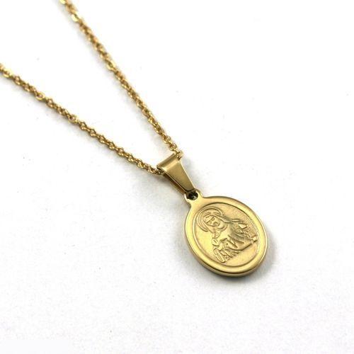 Naszyjnik pozłacany 18K złotem - Medalik z matką Bożą