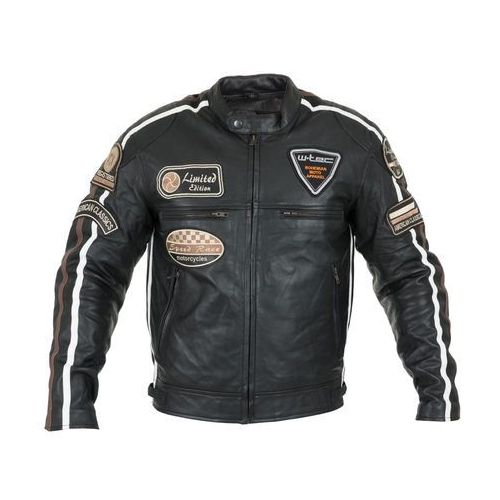 Męska skórzana kurtka motocyklowa W-TEC Sheawen, Czarny, L, skóra