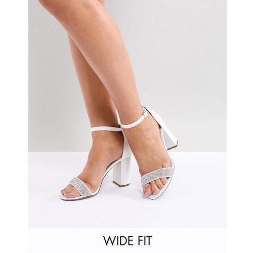 New look wide fit embellished strap block heel sandal - white