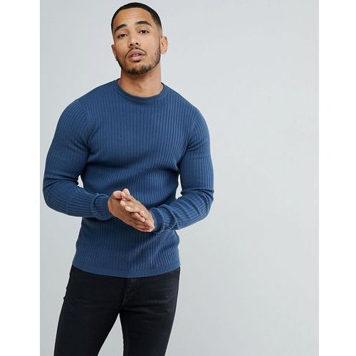 ribbed muscle fit jumper in blue - blue marki New look