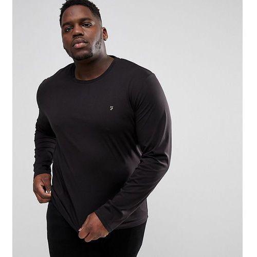plus farris slim fit long sleeve t-shirt in black - black, Farah