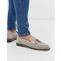 River Island woven tassel loafers in light grey - Grey
