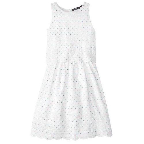 Bonprix Sukienka z haftem biały w kropki