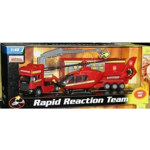 Teama toys Auto teama tir scania z naczepą zestaw ratunkowy + helikopter mix (4897021680528)