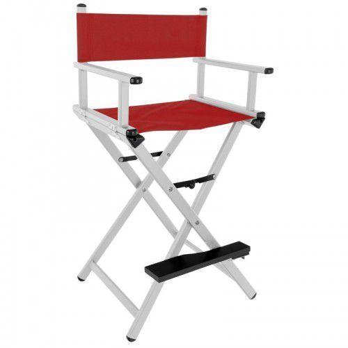 Krzesło do makijażu glamour aluminiowe srebrne z czerwonym materiałem marki Activeshop