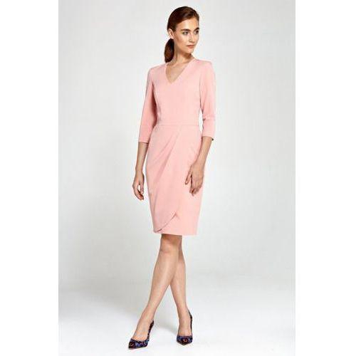 112e24e175 Dopasowana sukienka z asymetrycznymi dra... Producent Nife  Kolor różowy