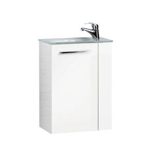 Fackelmann Szafka łazienkowa z umywalką szklaną 45 cm rondo - biały wysoki połysk \ 45 cm