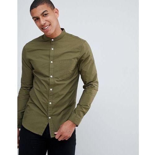 oxford shirt in khaki with grandad collar - green marki New look
