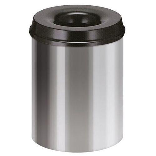 Kosz na papier, samogaszący, poj. 15 l, korpus srebrne aluminium / głowica gaszą
