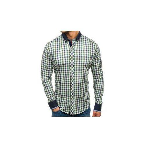 Bolf Koszula męska w kratę z długim rękawem zielona 8813