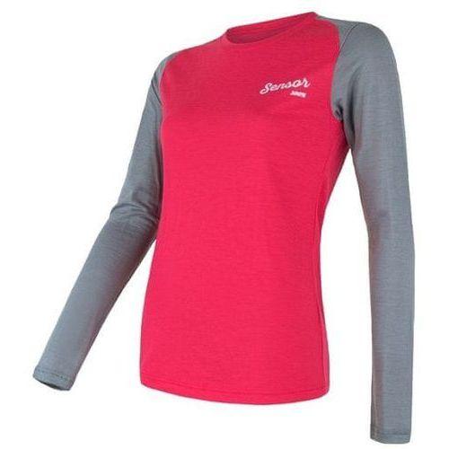 Sensor koszulka damska merino active pt logo magenta/szary xl