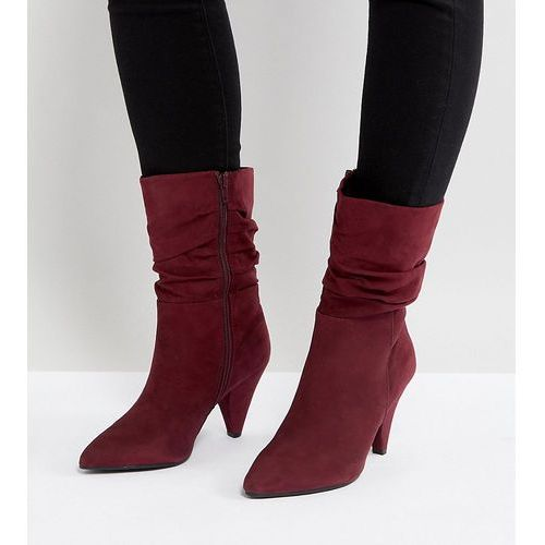 wide fit rouche mid calf heeled boot - red marki New look