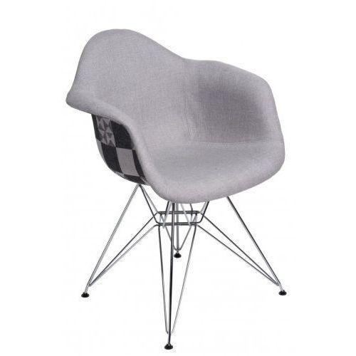 D2design Krzesło p018 dar pattern chromowane nogi (szare-patchwork) d2