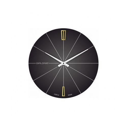 Szklany zegar ścienny, czarny, kolor czarny