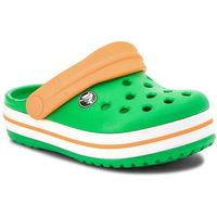 Klapki CROCS - Crocsband Clog K 204537 Grass Green/White/Blazing Orange, kolor zielony