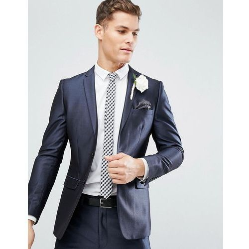 French Connection Skinny Wedding Suit Jacket in Tonic - Navy, kolor szary