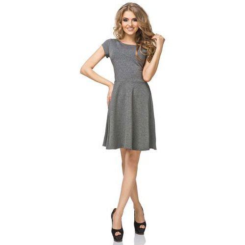Szara Sukienka Klasyczna Rozkloszowana z Mini Rękawkiem, w 7 rozmiarach