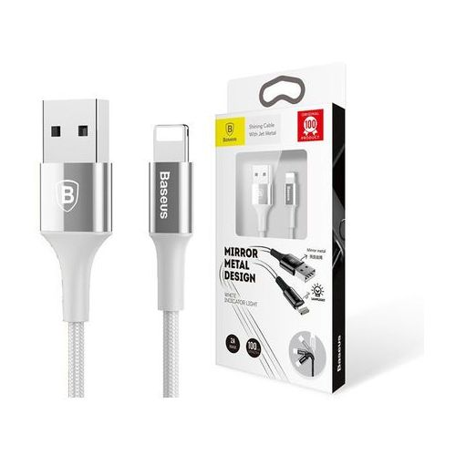 Baseus Shining kabel USB Lightning iPhone 2A 1m Srebrny - Srebrny